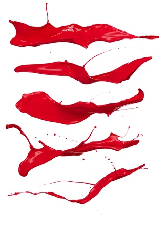 paint drop:  Shot of red paint splashes, isolated on white background Stock Photo