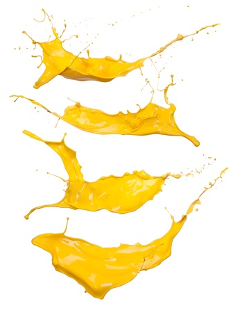 Shot of yellow paint splashes, isolated on white background  Stock fotó