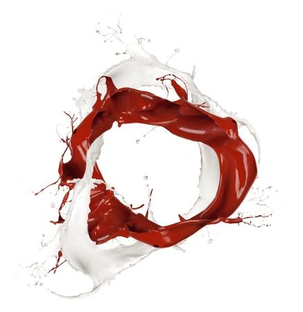 splash mixed:  Milk and chocolate splashes, isolated on white background