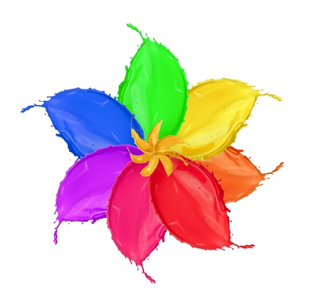 Colored flower blossom made of paint splashes, isolated on white background photo