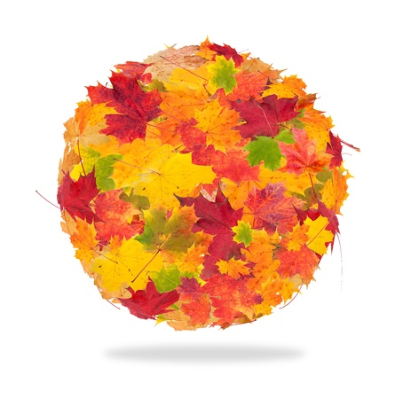 Abstract autumn ball isolated on white background photo