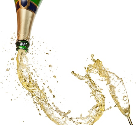 popping cork: Celebration theme isolated on white background