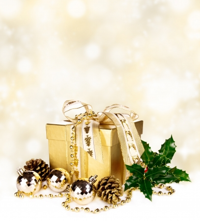 Christmas still life on shiny background photo