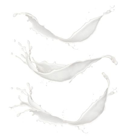 lait: Le lait �clabousse collection, isol� sur fond blanc Banque d'images
