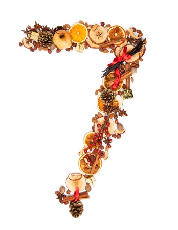 Christmas number made of dry spices and gifts Stock Photo - 15910215