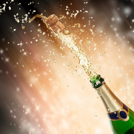 Celebration theme with splashing champagne Stock Photo - 15994219