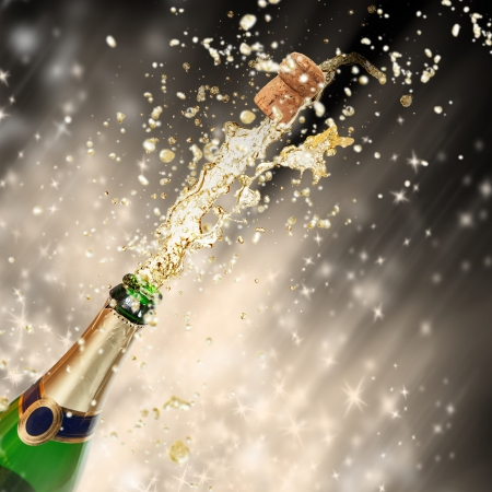 Celebration theme with splashing champagne Stock Photo - 15994228