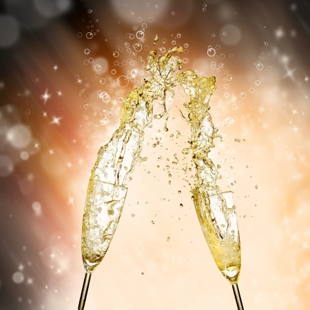 Celebration theme with splashing champagne Stock Photo - 15994137