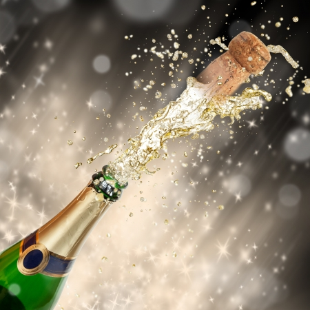 Celebration theme with splashing champagne Stock Photo - 15994229