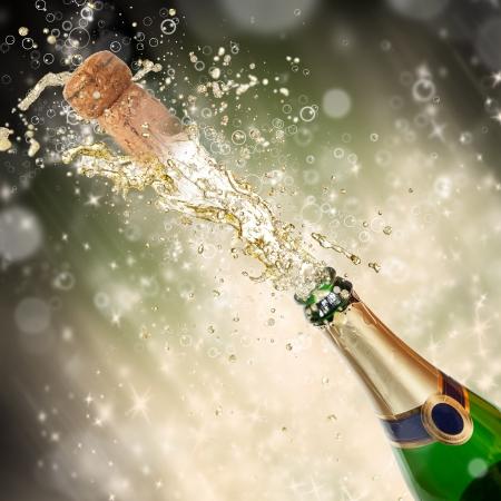 Celebration theme with splashing champagne Stock Photo - 15994235