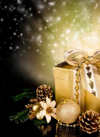christmas scene: Celebration theme with christmas gift