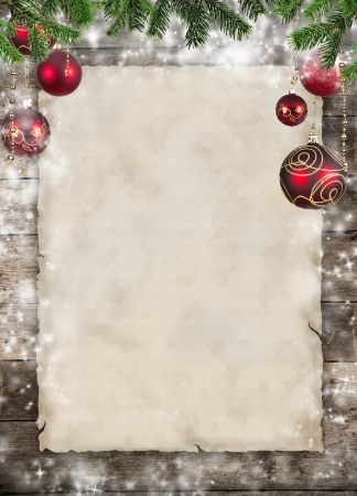 christmas background: Christmas theme with blank paper on wooden planks