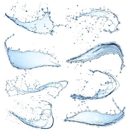 spruzzi acqua: Raccolta acqua schizzi isolato su sfondo bianco