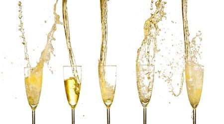 coupe de champagne: Collection de verres � vin de champagne �claboussures