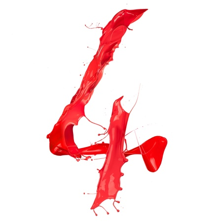 numeric: Red paint splash number  isolated on white background