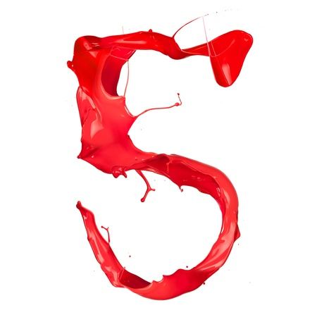 Red paint splash number  isolated on white background Stock Photo - 16111018