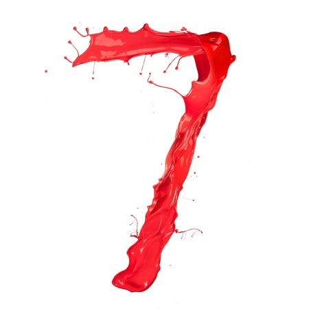 Red paint splash number 7 isolated on white background photo