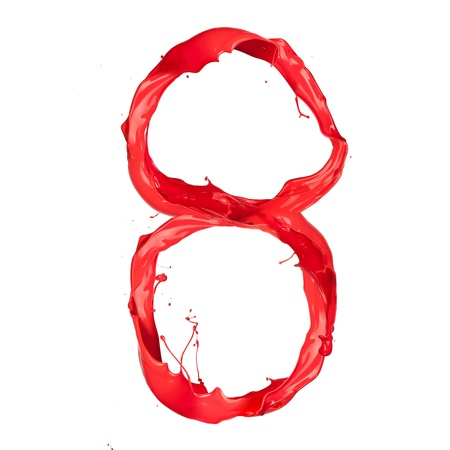 Red paint splash number isolated on white background photo