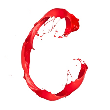 Red paint splash letter  isolated on white background Stock Photo - 16110991