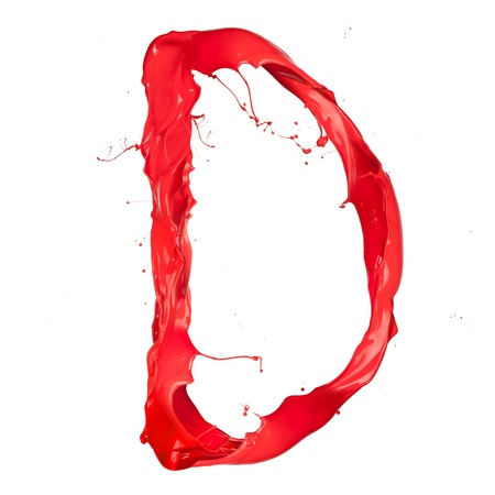 Red paint splash letter  isolated on white background photo