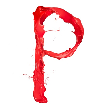ink drop: Red paint splash letter  isolated on white background
