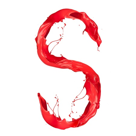 Red paint splash letter isolated on white background Stock Photo - 16111132