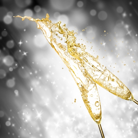 Celebration theme with splashing champagne Stock Photo - 16213299