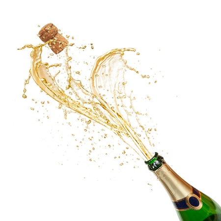 Champagne wine splash, isolated on white background photo