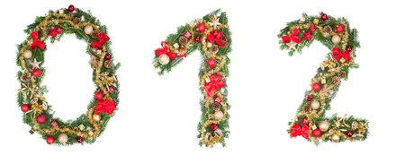 1 2 month: Christmas numbers, isolated on white background