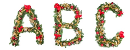 Christmas alphabet letters, isolated on white background photo