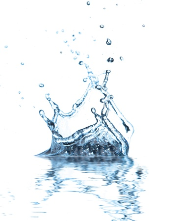 spews:  Water splash with reflection, isolated on white background