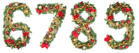 6 9 years: Christmas numbers, isolated on white background