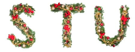 Christmas alphabet letters, isolated on white background photo