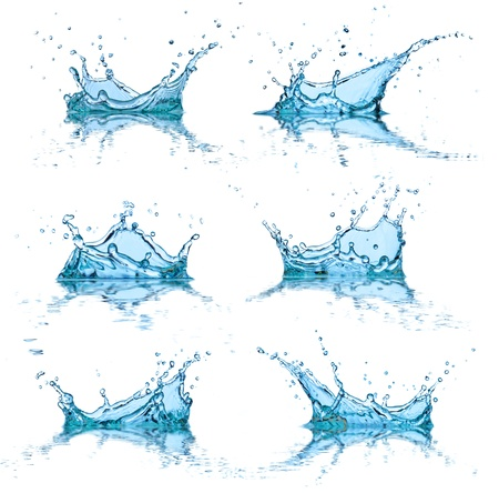 Water spatten collectie, geïsoleerd op witte achtergrond Stockfoto