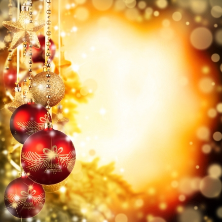 group of christmas baubles: Christmas theme with red glass balls and free space for text