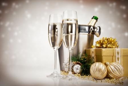 nowy: Motyw z winem szampańskim Celebration Zdjęcie Seryjne