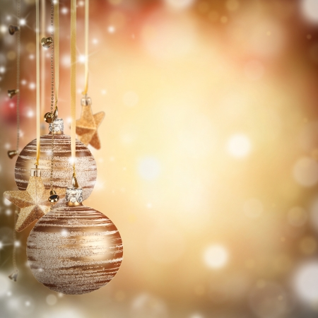 group of christmas baubles:  Christmas theme with golden glass balls and free space for text