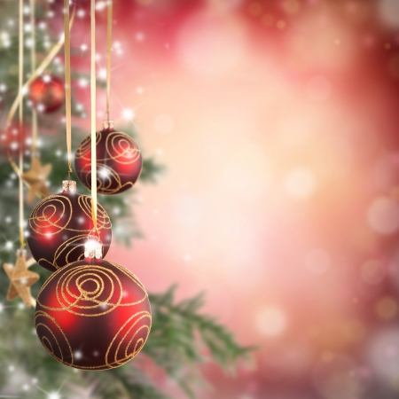 Christmas theme with red glass balls and free space for text Stock Photo - 16311507
