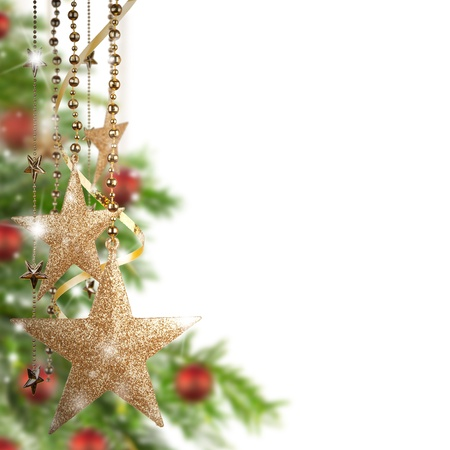 Christmas theme with golden glass stars and free space for text Stock Photo - 16311505