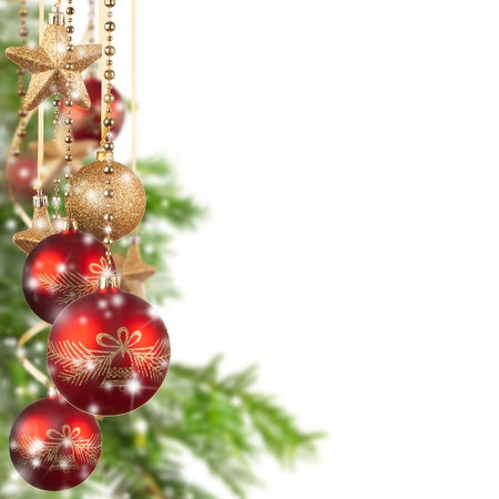 Christmas theme with red glass balls and free space for text Stock Photo - 16311493
