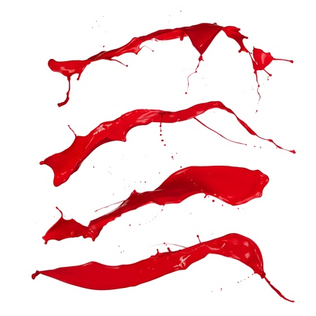 paint drip: Red paint splashes collection on white background Stock Photo