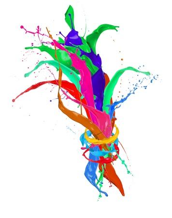 paintbrush spray:  Colored paint splashes isolated on white background