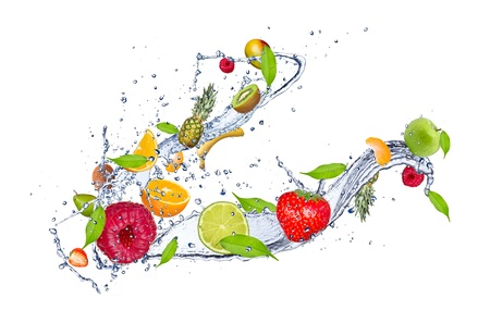 water feature: Mix of fruit in water splash, isolated on white background
