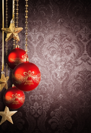 magic ball: Christmas decorative background with abstract patterned wall and free space for text