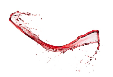red wine pouring:  Red wine splash, isolated on white background