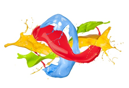 Colored paint splash isolated on white background photo