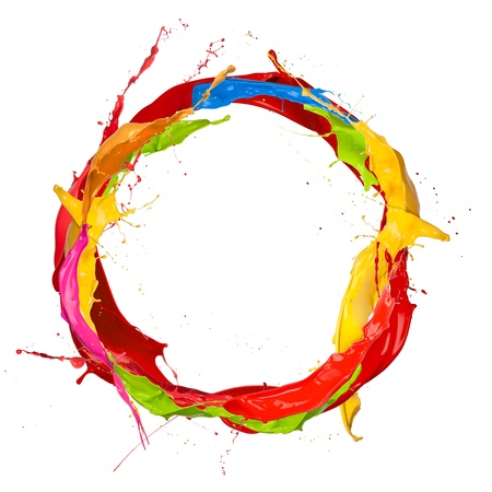 dripping paint:  Colored paints splashes circle, isolated on white background