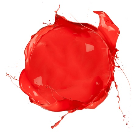 Isolated shot of red paint blob on white background  photo