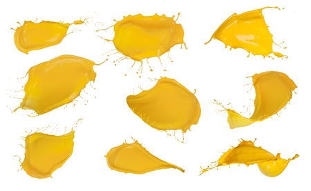 Shot of yellow paint splashes, isolated on white background  Stock Photo - 16413520