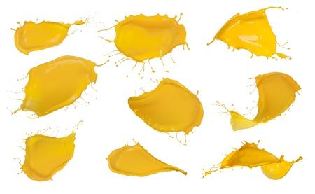 Shot of yellow paint splashes, isolated on white background Stock Photo - 16413520